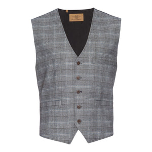 Albert Stretch Vest in Gray Plaid