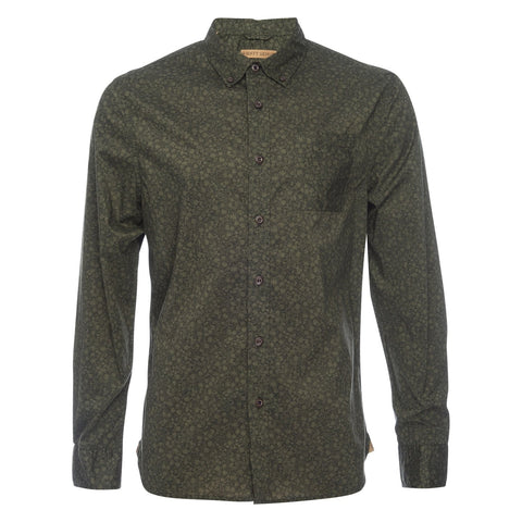 Truman Button Collar Floral Print in Olive