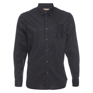 Truman Button Collar Floral Print in Black
