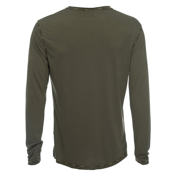 Ryan Raw Seam Ombre Stitch Crew Neck in Olive