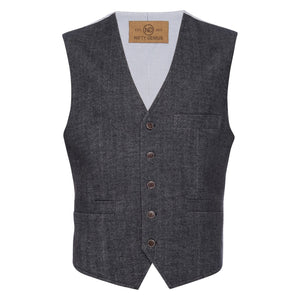 Albert Stretch Vest in Herringbone