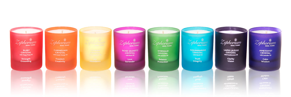 Coconut Wax Aromatherapy Candles infused with crystals