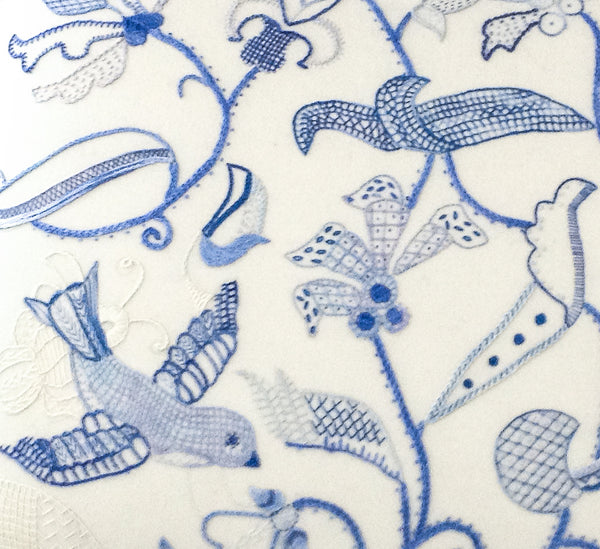 Red Jacobean Bird Fabric & Thread Pack in Blue