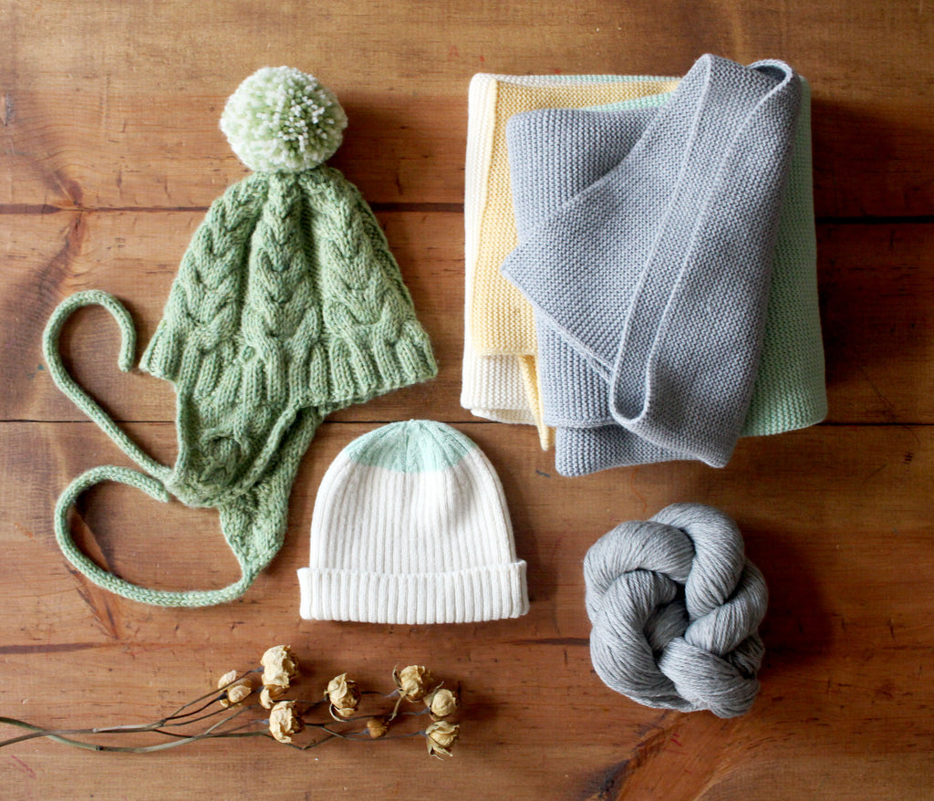 knit hat and koko's nest modern heirloom blanket grays