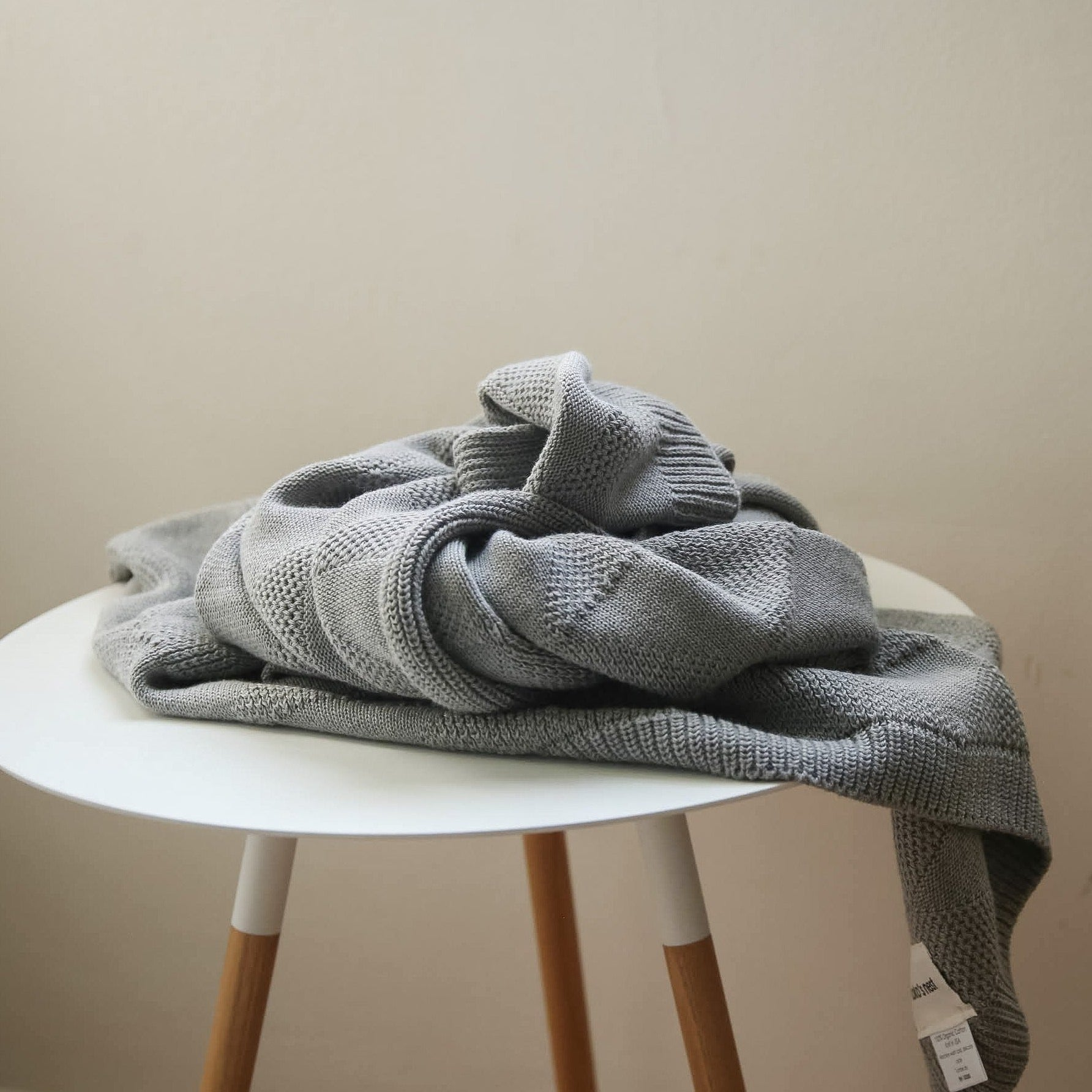 koko's nest | KITE Grey | 100% Organic Cotton | knit baby blanket | made in usa