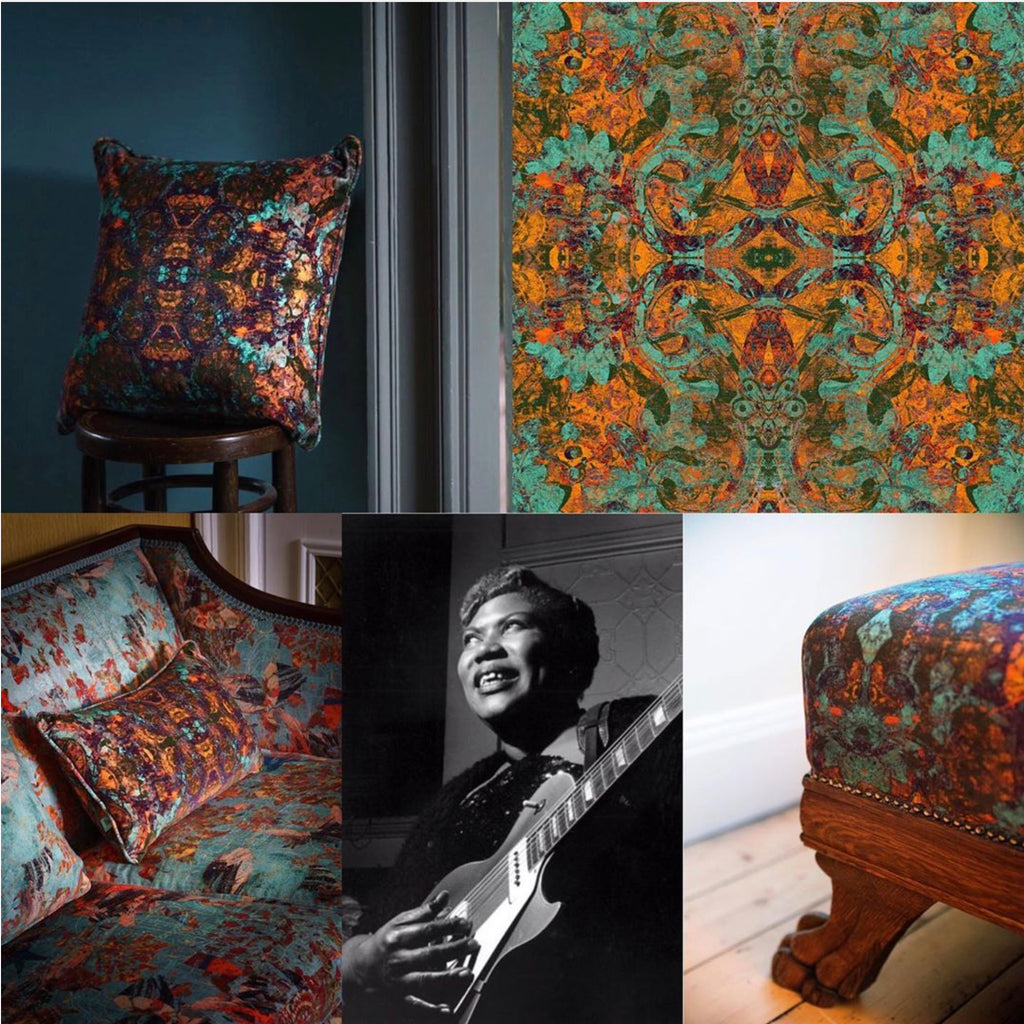 Patterned velvet fabric 'Rosetta' named in honour of Sister Rosetta Tharpe