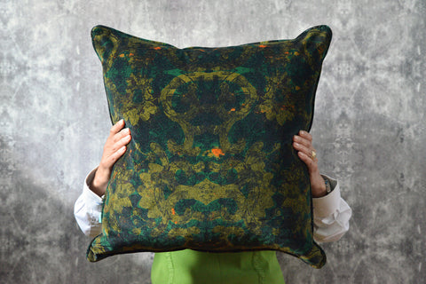 large green velvet cushion