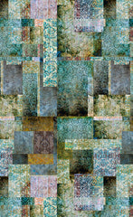 patchwork wallpaper and fabric