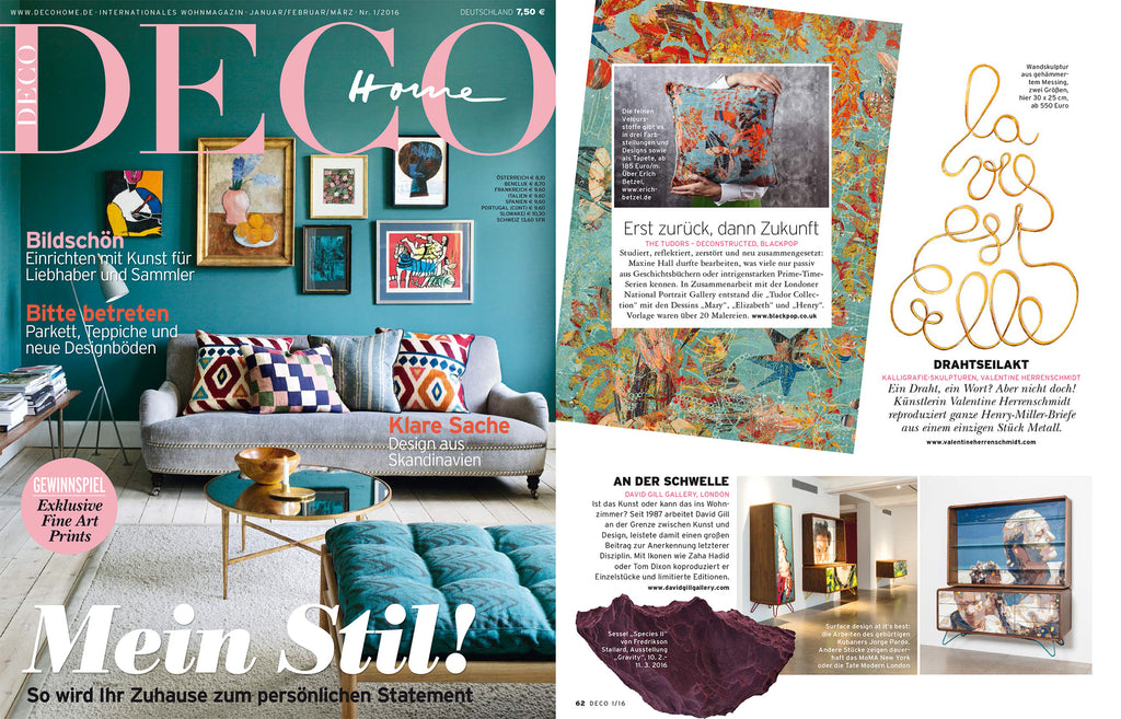 Contemporary cushions wallpaper and fabric in Deco Home Magazine