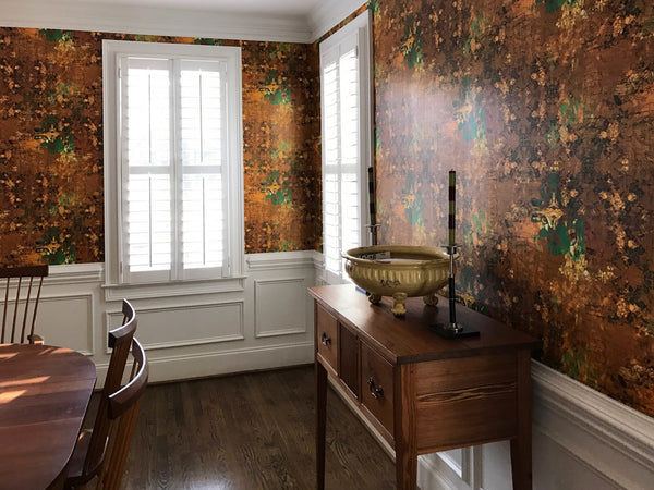 brown gold and green wallpaper for hallway and diningroom
