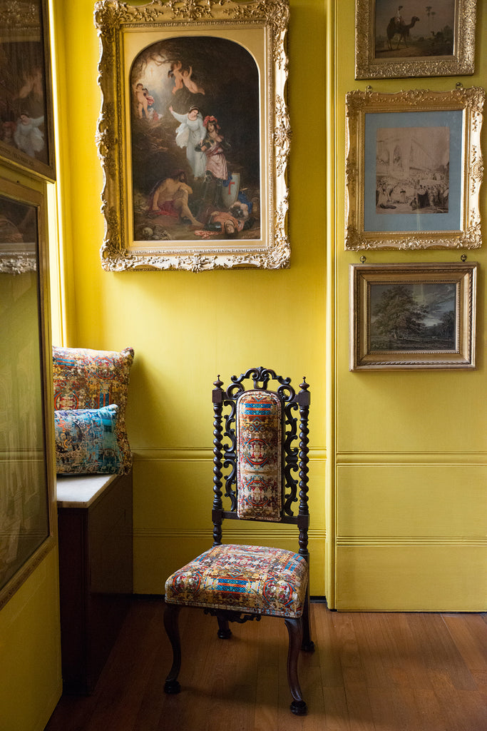 designer wallpapers and fabrics made in the UK, yellow upholstery velvets, yellow patterned fabrics