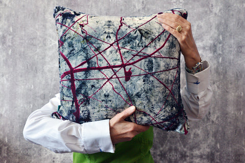 Devine velvet cushions, fabric available by the meter. Blackpop.co.uk