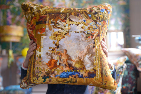 gold cushions, golden coloured cushions, velvet pillows for sale uk
