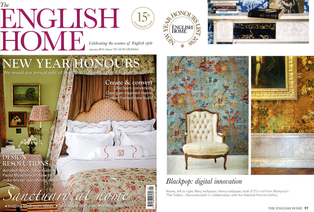 Blackpop Designer wallpaper and fabric in the English Home Magazine