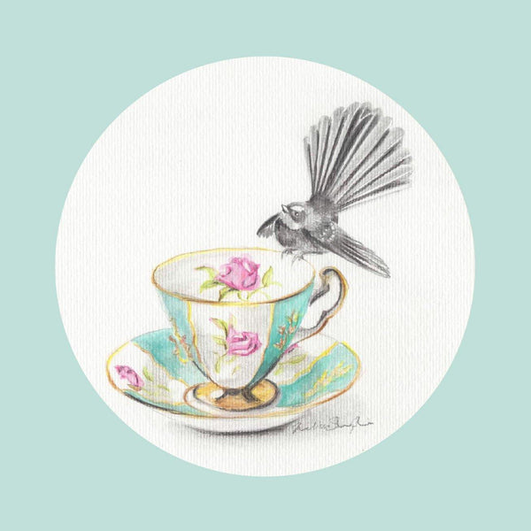 Fantail Mint Greeting Card - Melissa Sharplin