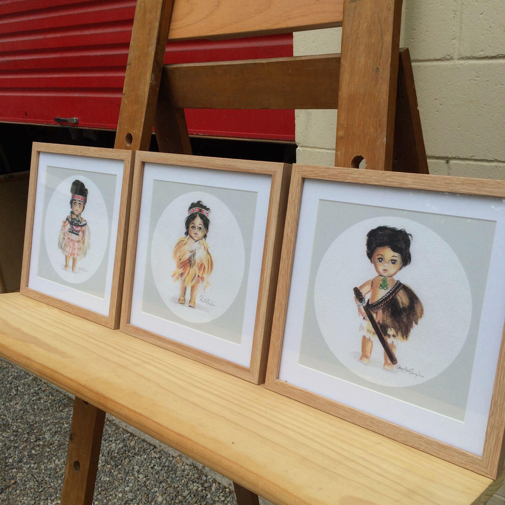 Set of 3 Framed Maori Dolls