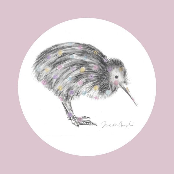 Little Spotted Kiwi Pink Greeting Card