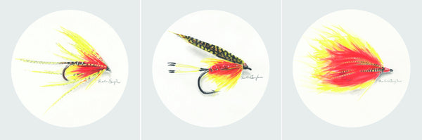 Orange Fishing Flies - Set of Three Prints