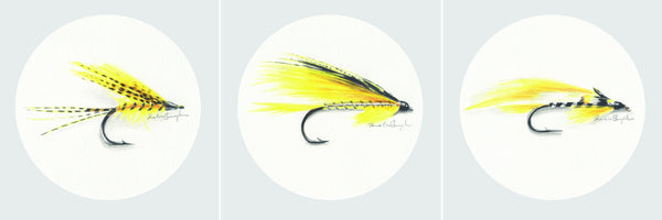 Yellow Fishing Flies Collection - Set of Three Prints