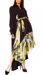 Silk-Chiffon Midi Versatile Dress Black/Yellow