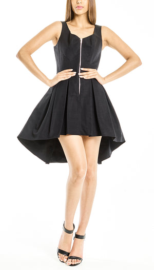 Satin-Gabardine Corset Dress Black