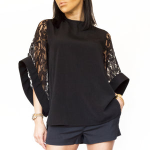 Lace Bell Sleeves Blouse