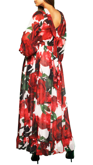 Chiffon Long Floral-print Dress