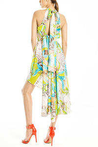 Layered Silk-Satin Dress Green Print
