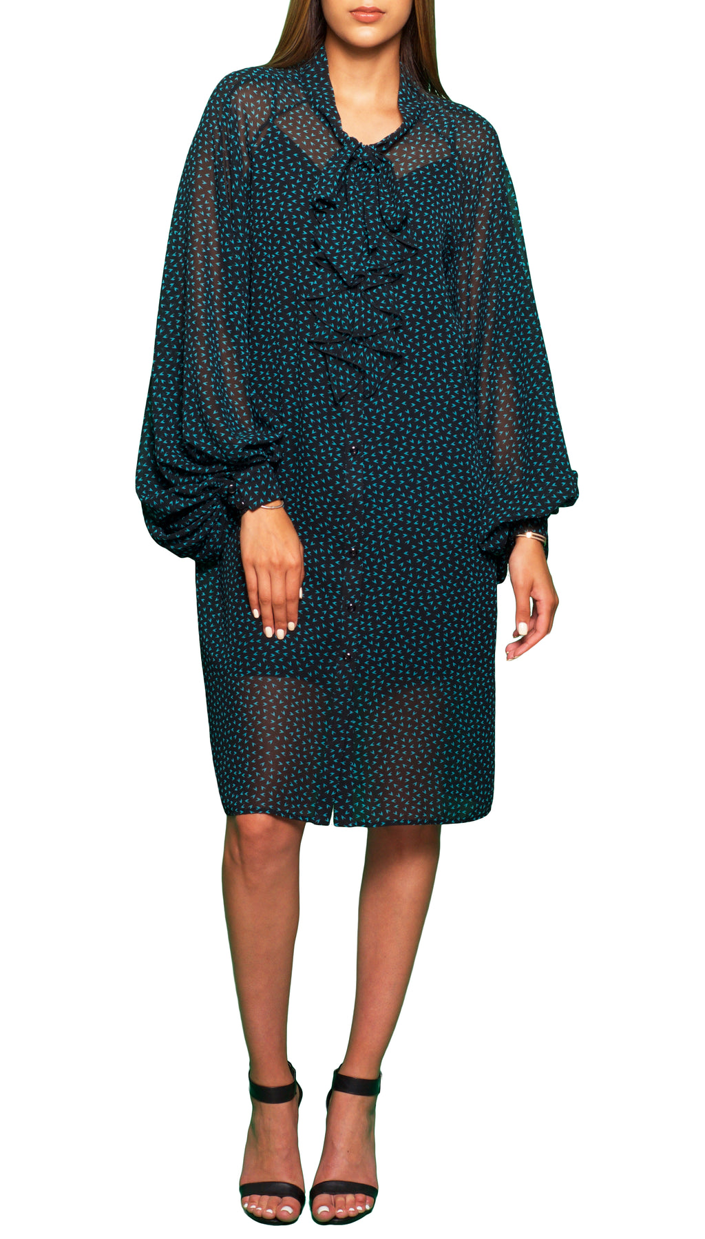 Loose Fit Billowy Sleeves Dress Green