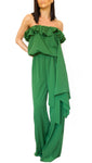 One Shoulder Long Jumpsuit Green