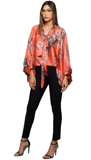 Trow Over Satin-Print Top