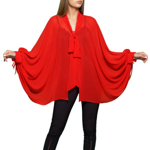 Trow Over Chiffon Top Red