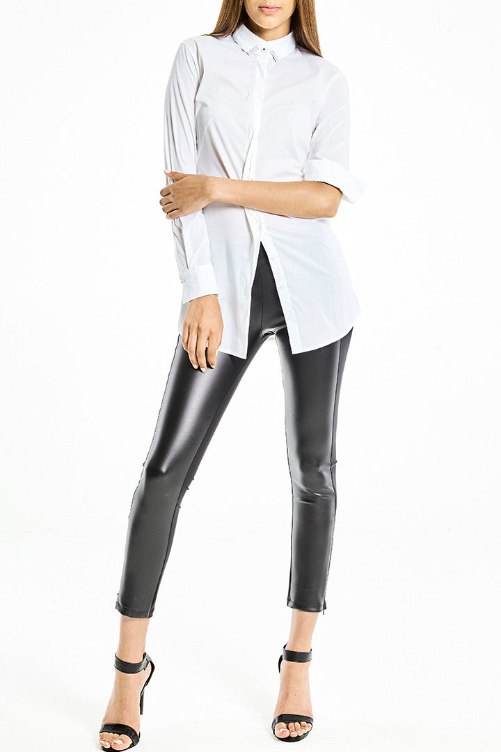 Shirt long stretch-cotton poplin White