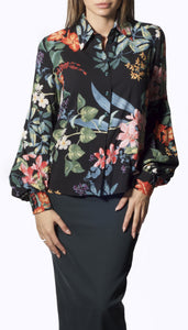 Pleated Sleeve Floral Shirt