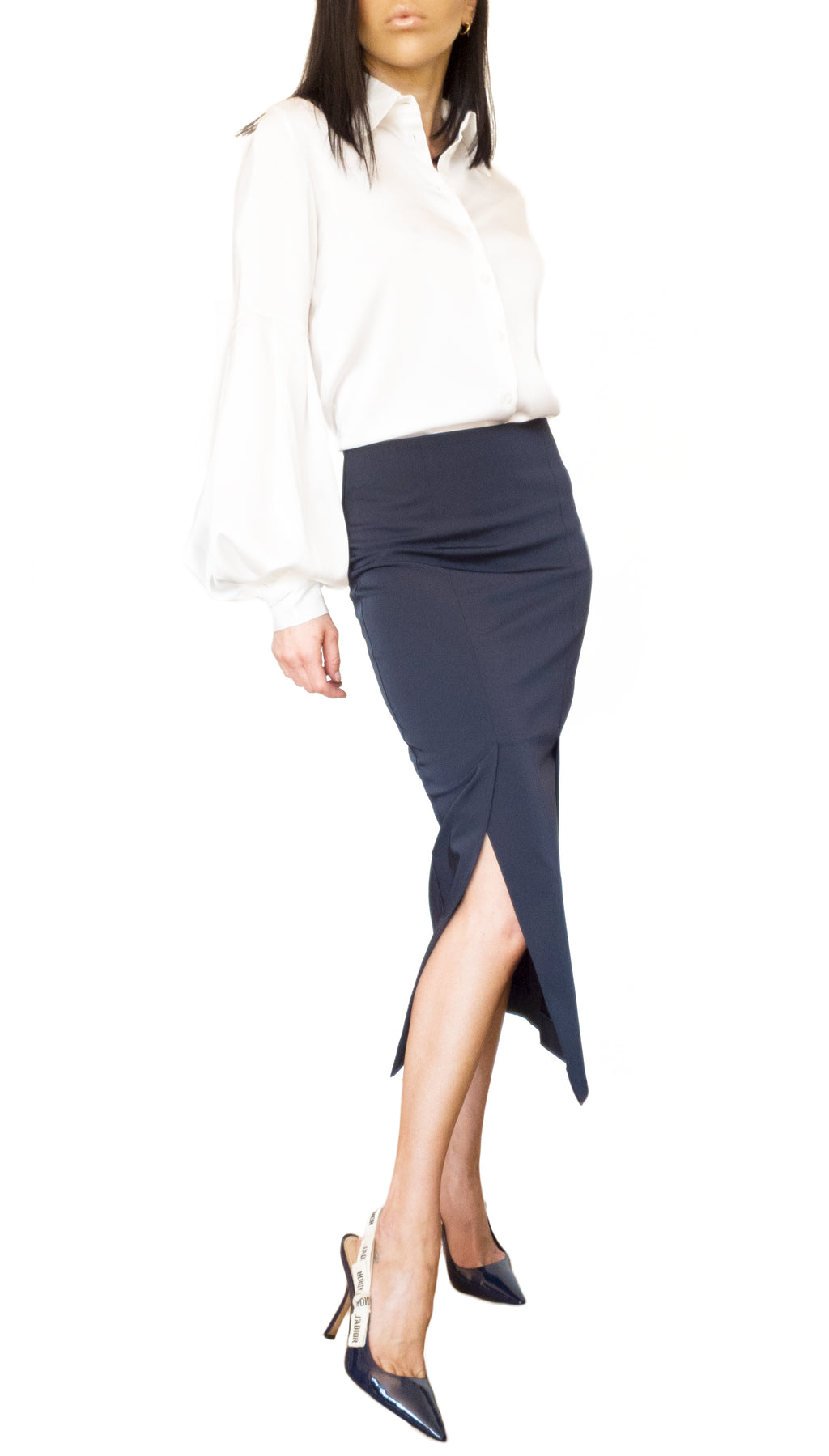Stretch Cotton-polyester Blend Midi Skirt