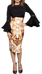 Printed High-waist Pencil Skirt