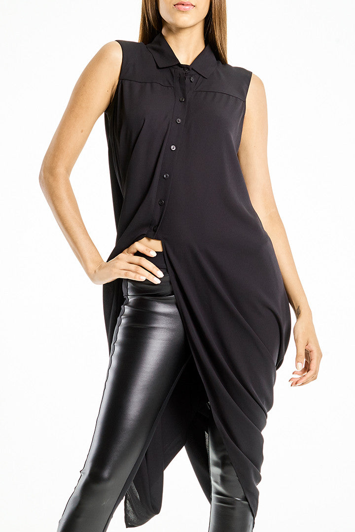 Shirt Tunic Twist Black