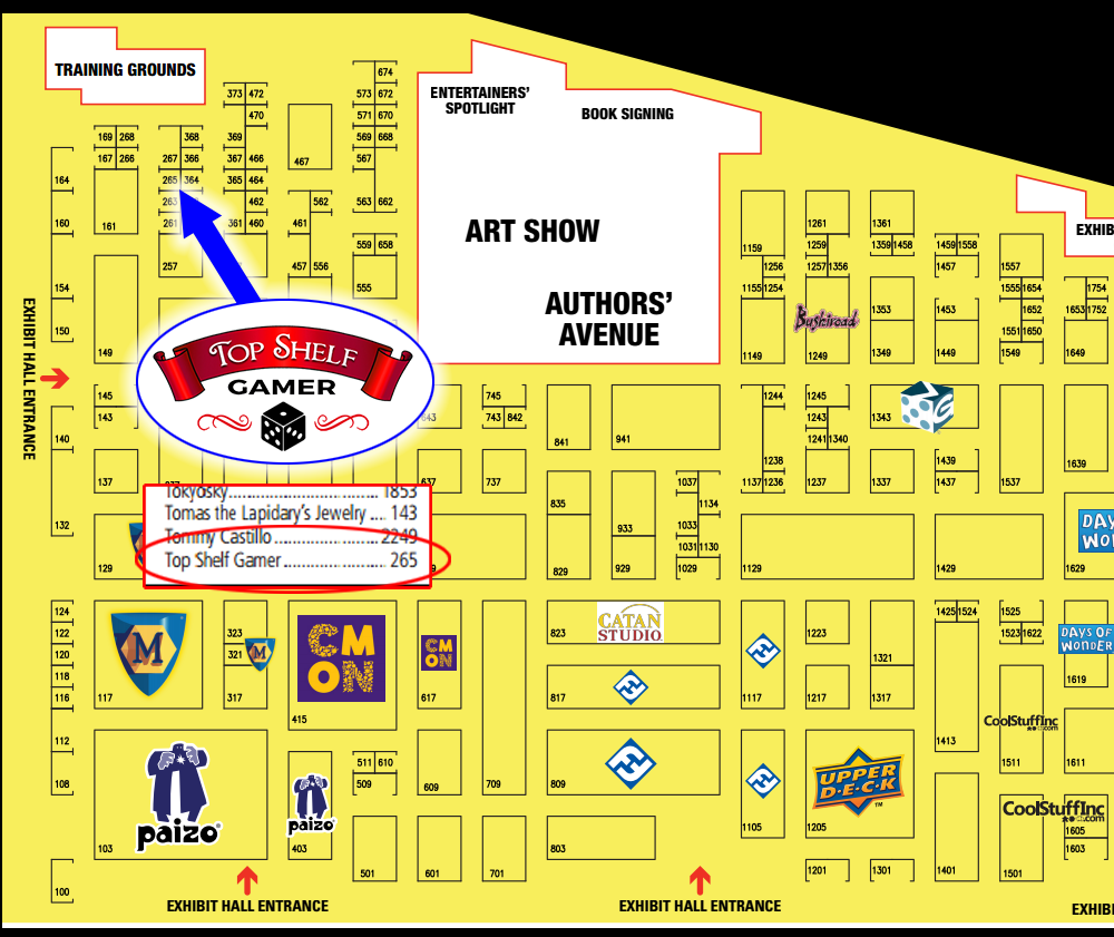 Top Shelf Gamer - Gen Con 50 Booth Location 2017