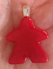 Glass Necklace Charm -  Red Meeple