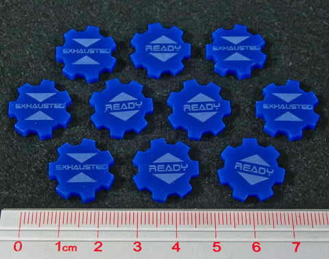 Ready Exhausted Tokens, Blue (set of 10)