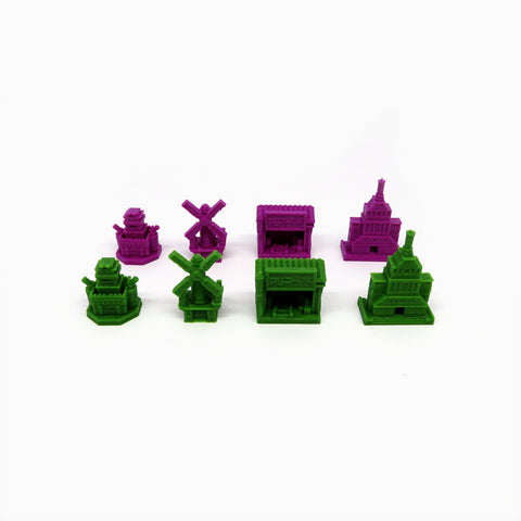 Building Tokens for 2 Factions compatible with Scythe: Invaders from Afar (set of 8)
