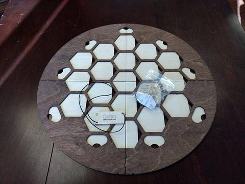 4 Player Walnut Stained Game Board compatible with Catan
