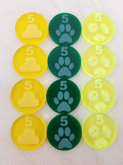 Acrylic Resource Tokens (worth 5) 3-types (set of 12)