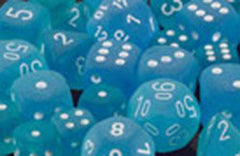 Frosted Caribbean Blue/White Dice (set of 12) [clearance] - Top Shelf Gamer