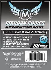 PREMIUM Mayday 63.5 x 88mm Black Backed Card Sleeves (set of 80) - Top Shelf Gamer