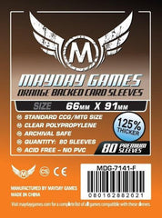 PREMIUM Mayday 63.5 x 88mm Orange Backed Card Sleeves (set of 80) - Top Shelf Gamer