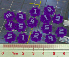 Identification Tokens #1-5, Purple (set of 15) - Top Shelf Gamer - 1