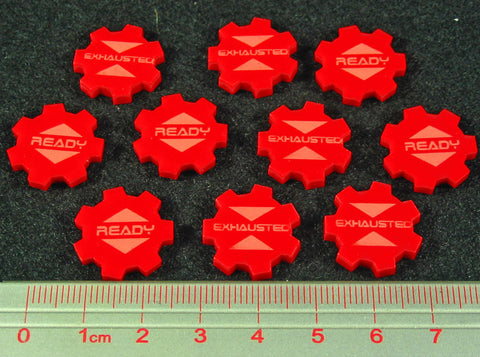 Ready Exhausted Tokens, Red (set of 10)