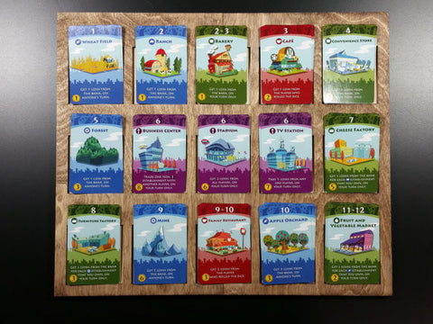 Machi Koro 15 spot Establishment Supply board for the base game