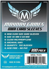 Mayday Mini Euro Card Sleeves: 45 x 68mm (set of 100) - Top Shelf Gamer